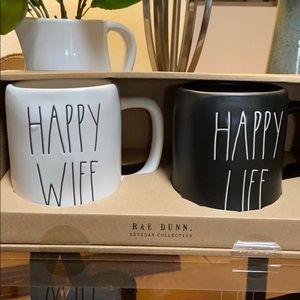 New Rae Dunn HAPPY WIFE/HAPPY LIFE Coffee Mug Set